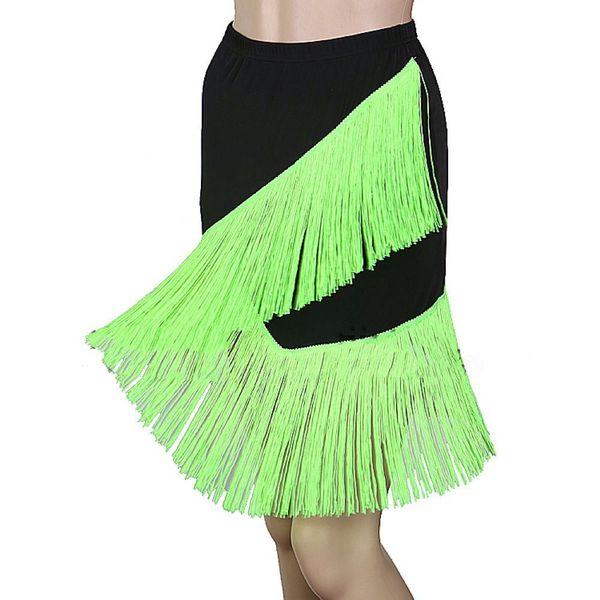 Falda de Tango Latino Baile Samba Salsa Vestido D380 Dobladillo irregular con 2 capas de borlas Se aceptan 10 opciones de tamaño personalizado