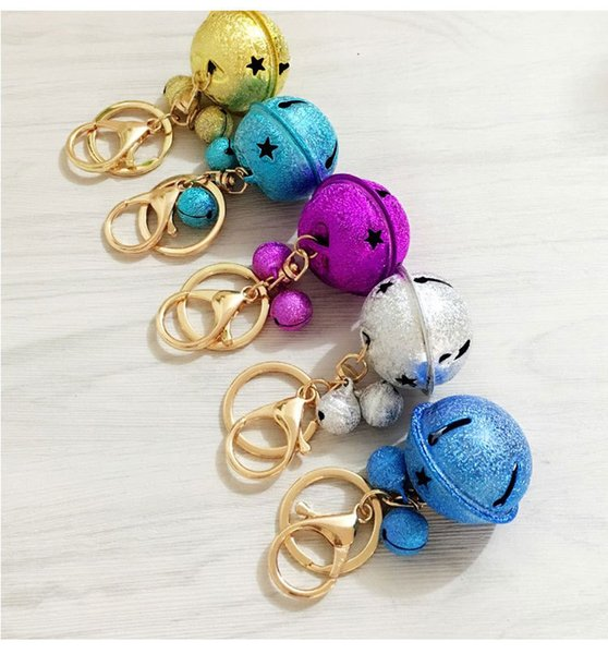Korean Creative Metal Candy Color Bell Key Chain Handmade DIY Mobile Phone Case Accessories Lovers Bag Pendant