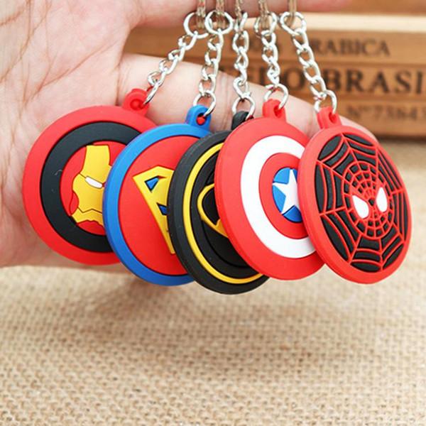Vente en gros - Le capitaine Captain America Thor Avengers Marvel caractère bouclier Batman superman KeyChain Keyrings Key Chain