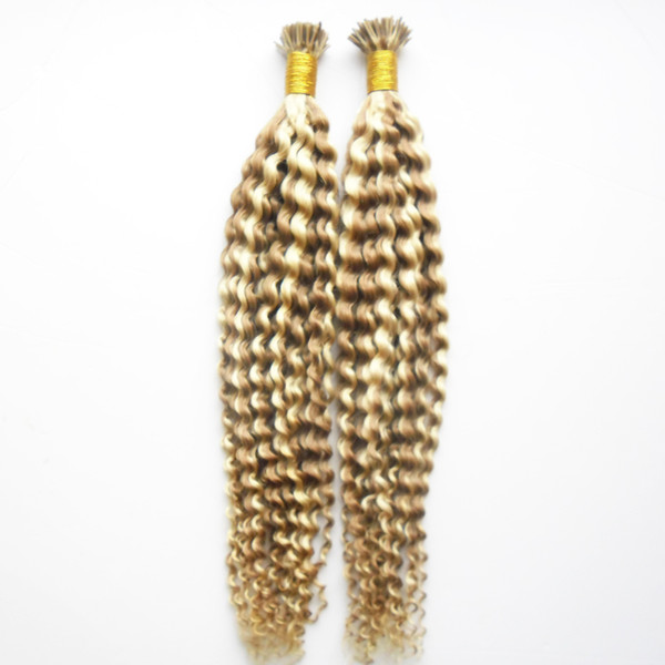 Kinky Curly Remy Human Fusion Keratin Hair Nail I Tip Pre Bonded Capsules Hair Extension 200g/strands Color P18/613