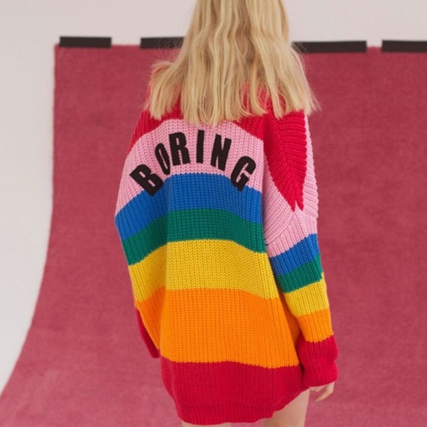 Ovesized Rainbow Sweater for Women Coat Fashion Loose Long Cardigan Knitted Jumpers Ladies Cape Tops Sweaters 2018 Sueter Mujer