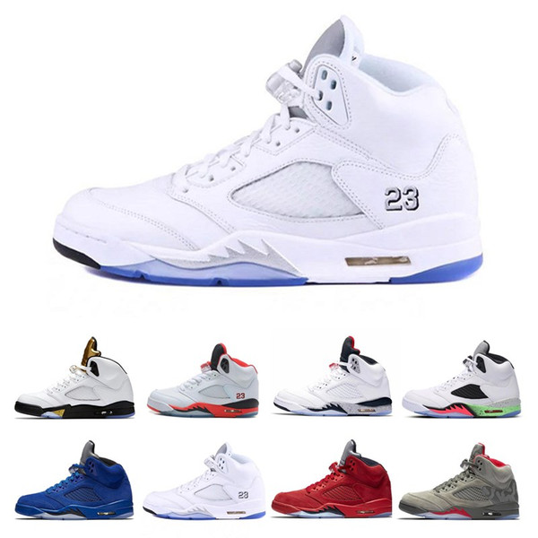 2018 New Sport Trainer Sneakers Men 5 5s Basketball Shoes OG Triple s Black White Cement Red Blue suede Metallic Gold size 8-13