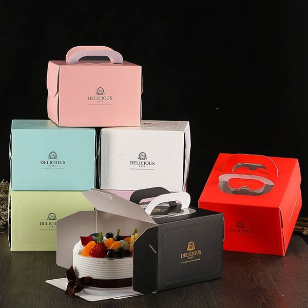 6 inch Cake Box with Window Handle Kraft Paper Cheese Cake Box for Kids Birthday Wedding Home Party