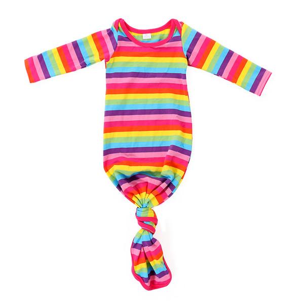 Mint White Stipe Baby Gown Sprint Wholesale Newborn Sleeping Bag Infant Baby Gown Cotton Stripe Sleeping Gowns Girls Boys