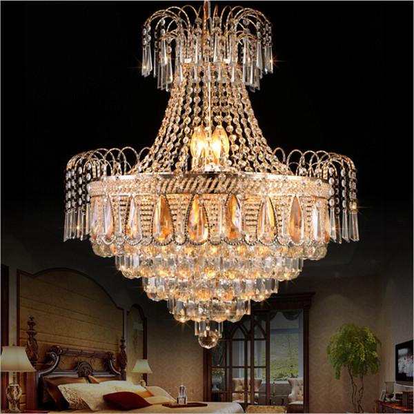 French Empire Gold araña de iluminación lámparas de cristal lustre comedor Dormitorio moderno de cristal lámpara colgante de luz de techo