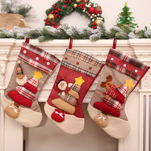 merry christmas Santa Claus stocking snowman kids gift bag Xmas tree decorations hanging ornament christmas decorations for home