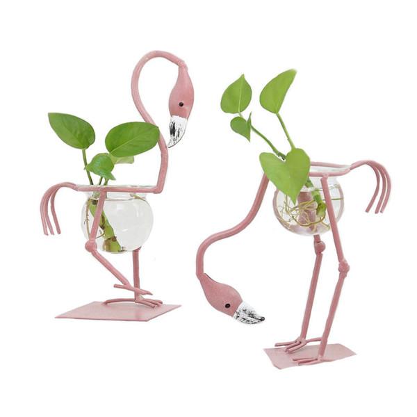 Vente chaude Européenne Verre Flamingo Petits Pots De Fleurs Eau Culture Scindapsus Conteneur Salon Décorations De Bureau Ornements