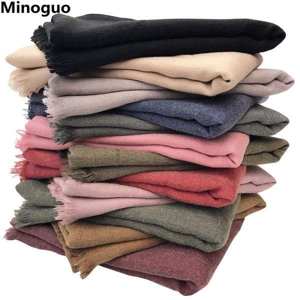 Minoguo 190x90cm Women Soft Cotton Linen Scarf Retro Plain Oversize Long Large Warm Scarves Shawl Wraps  Muslim Hijabs