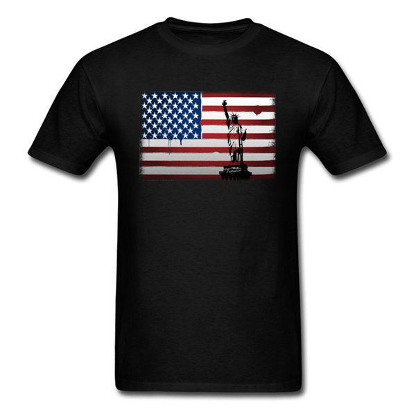 Statue Of Liberty American Flag Red Stripe White Star Print Men Black T-shirt Short Sleeve Tees Shirt Retro Vintage