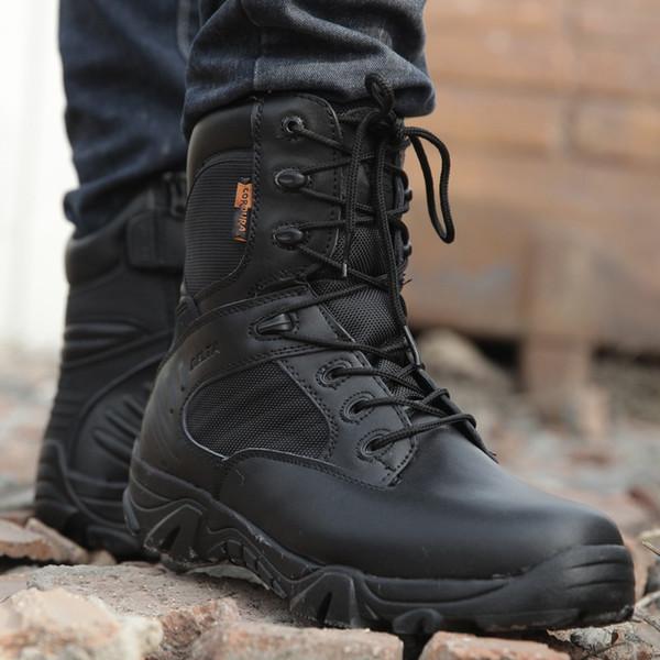 Spring Men Military Army Boots Fuerza especial Waterproof Leather Desierto Combate Trabajo Zapatos Tactical Tobillo Botas Hombres