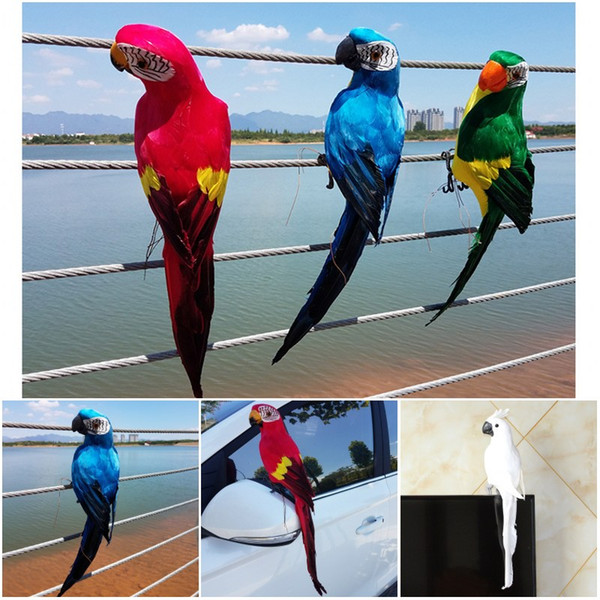 DIY Craft Parrot Feather Garden Window Decoration Parrot For Home Decoration Accessories 45cm Home Decor Garden Decoration Bird G604S
