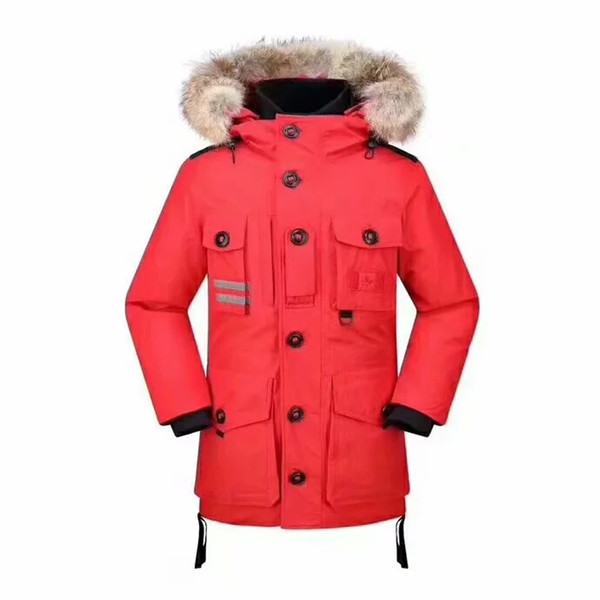 Free shipping 2018 WINTER Goose Down Canada Brand Men outwear Real fur Fashion Hooded Down Jacket 90% White Goose Down Outdoor snow coat
