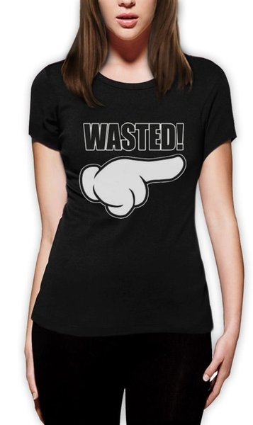 Women's Tee Wasted Cartoon Hand Women T-shirt Rude Couples Hipster High Drunk Funny Top Tee Design Short Sleeve T Shirt The New