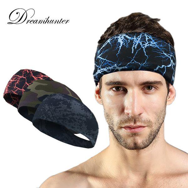 Sports Breathable Sweatband Elastic Women Men Running Basketball Headband Hair Head Bands Camouflage For Yoga Cycling