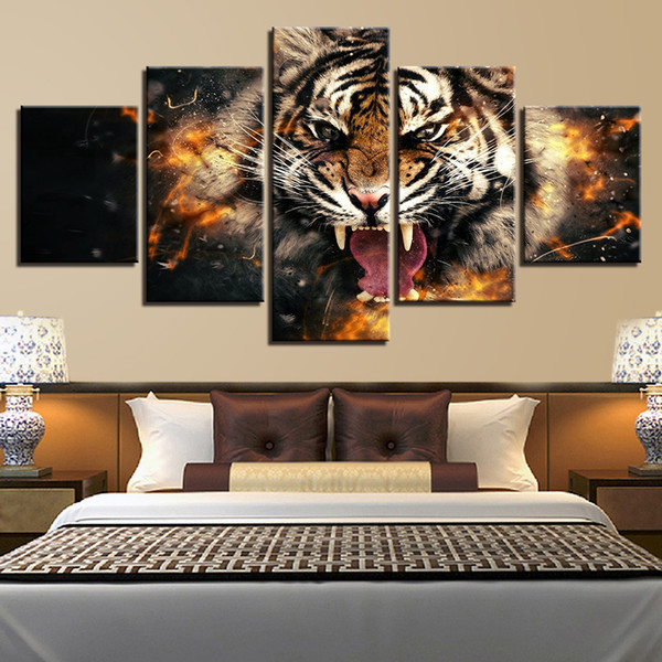 For Living Room HD Prints Canvas Paintings Home Decor 5 Pieces Roaring Tiger Pictures Abstract Animal Poster Wall Art Framework