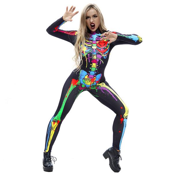 Motif de taro explosif impression numérique 3D moulant pantalon une pièce à manches longues pantalons costumes d'Halloween