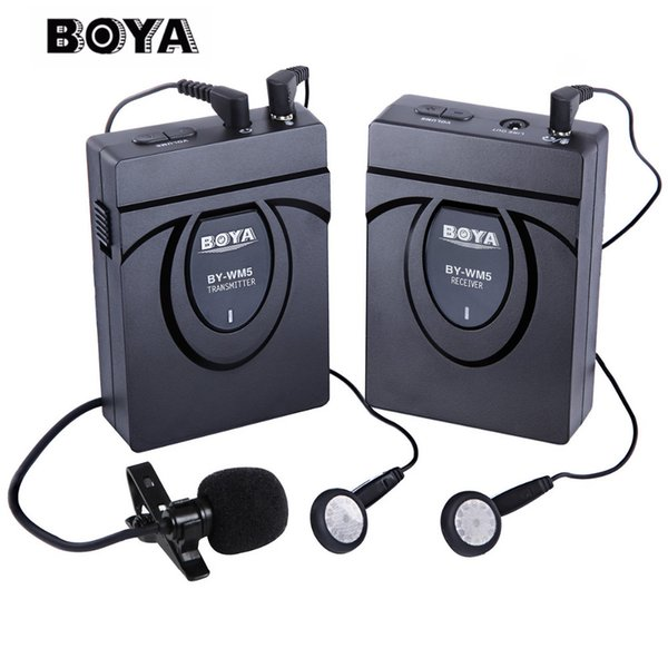BOYA BY-WM5 Wireless-Mikrofon Wireless Lavalier-Mikrofon-System für Canon SONY DSLR-Kamera Camcorder Audio Recorder