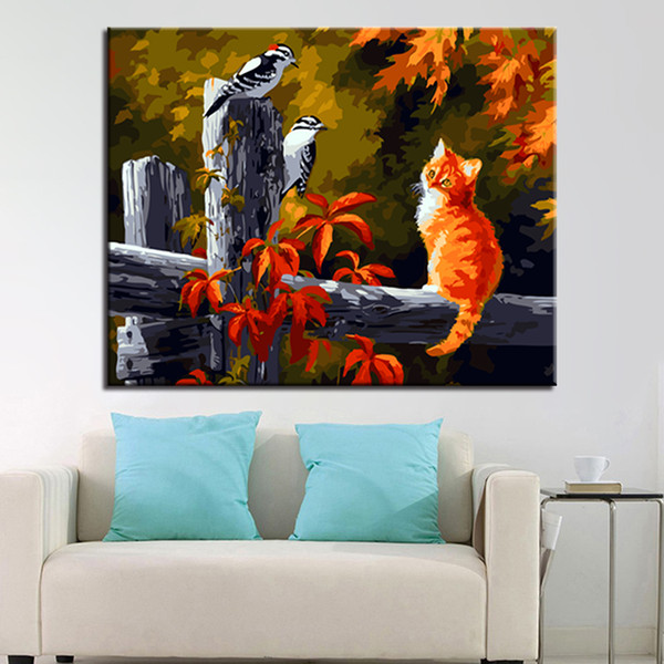 DIY Digital Oil Painting By Numbers HandPainted Coloring Cat Watched Two Birds Canvas Pictures Home Office Wall Decor Art
