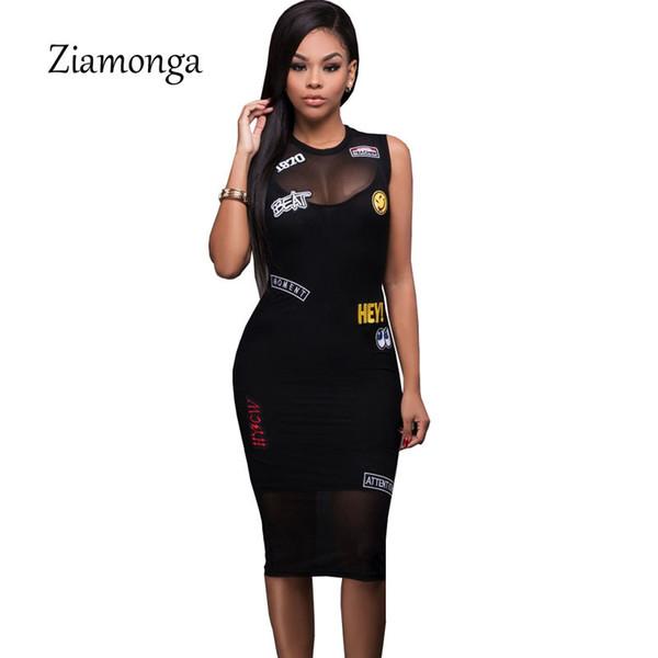 7856e24ede Ziamonga Letter Patch Embroidery Black Dress Sleeveless Tank Mesh Club  Party Bodycon Midi Dress Summer Women Sexy Bandage Dress D1891302 Women  Dresses ...