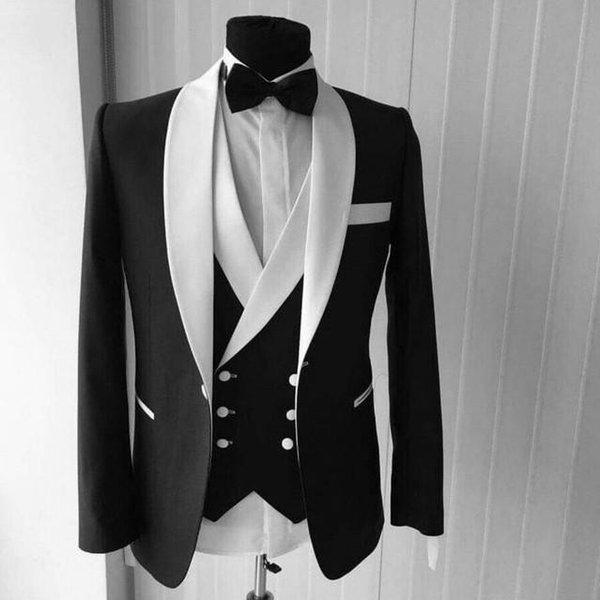 High Quality Black Groom Tuxedos Wedding Suits Shawl Lapel Groomsmen Suits Custom Made Best Man Suits (Jacket+Pants+Vest)