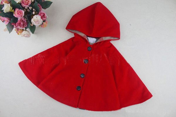 Kids Poncho Jacket Shawl Winter Spring Children Outwear Girl Warm Hooded Coat New Brand Plaid For 2~7 Years Baby