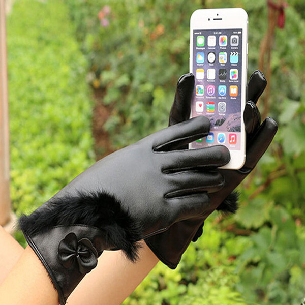 New European Fashion Soft Leather Gloves Mittens Winter Women Warm Mobile Phone Smartphone Touch Screen Gloves High Quality