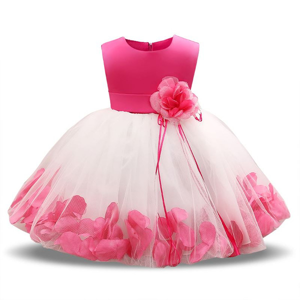 Newborn Dresses For Baby Girls Flowers Toddler Christening Gown Kids Special Occasion Wear Infant 1 Year Birthday Dress Clothing