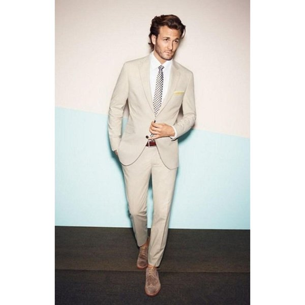 New 2017 Custom Made Beige Wedding mens suits Tuxedos Cheap Real Image Three Piece Formal Groom Men Suit ( jacket+Pants+tie)