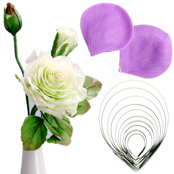 Large Silicone Rose petal Veiner & stainless steel Cutter Cake Decorating Moulds Fondant Sugar craft Mould Sugar tool set