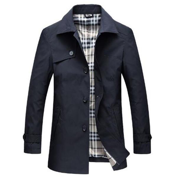 Tangcool 2018 Весна Slim Fit Длинные Пальто Мужчины Британский Стиль Бизнес Верхняя Одежда Высокого Качества Классический Ветровка Траншеи