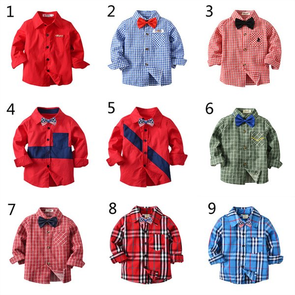 best selling 10 Style Boys Girls INS dot shirt 2018 New Children lapel Long sleeves shirt Baby gentleman's tops for 3~8years B001