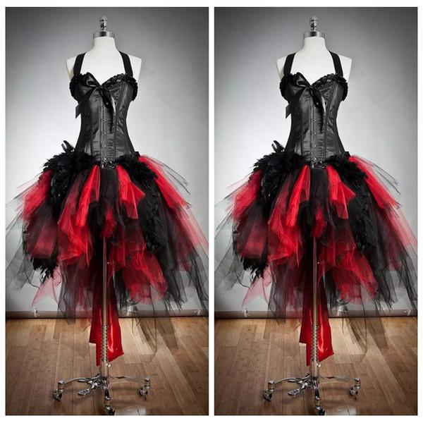 2019 Halter Slim Ball Gown Tulle Gothic Red and Black Corsetto Prom Dresses Abiti su misura in pelliccia e Tulle Burlesque Hi Lo Special Party Dress