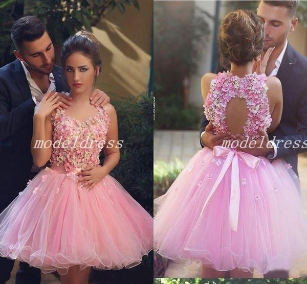 Said Mhamad Blush Short Homecoming Dresses 2018 Hollow Back Hand Made Flowers Crystal Beaded Mini Cocktail Party Dresses abiti da ballo