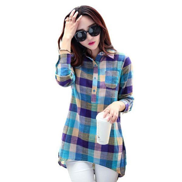 Seksi kızın Sonbahar Moda Kadınlar Check Plaids Lady Uzun Kollu Sıcak T-Shirt Tops Gevşek Gömlek