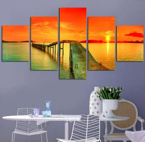 Pictures Poster Modern Wall Framework Living Room 5 Panel Ocean Wooden Bridge Sunset Scenery Home Decor Art HD Printed Painting