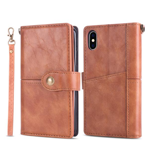 Retro textura carteira de couro phone case para iphone x 6 7 8 plus e samsung s8 s9 mais etc