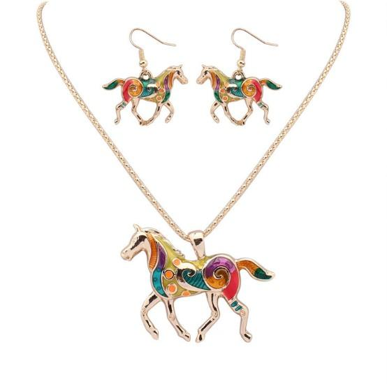 European Colorful Enamel Horse Pendant Dangle Necklace Hook Earrings Sets Wholesale fit Blouse Sweater Woolen Garment for Female Lady Girl