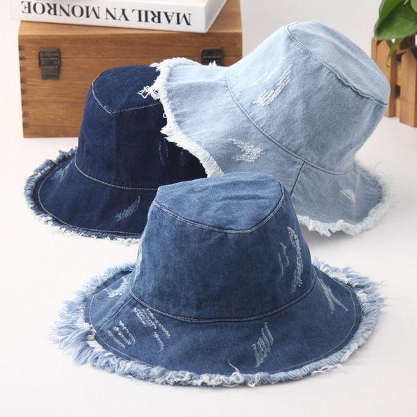 2018 new Bucket hat all-match retro denim sanding visor casual wash cloth fashion unisex couple Bucket hat fisherman hat