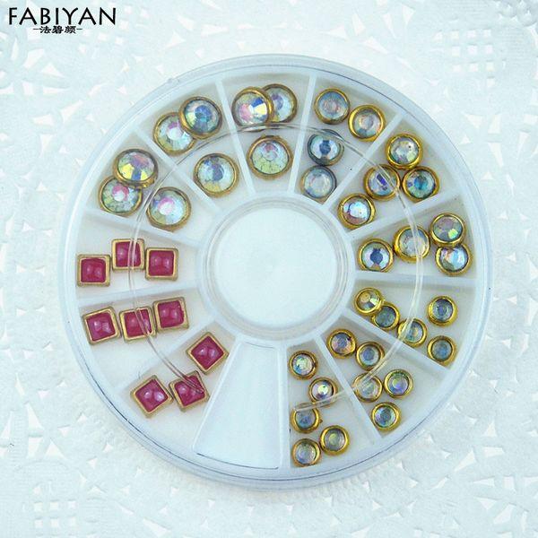 Nail Art Wheel Decoration 3D Tip Jewelry Metal Acrylic Rhinestone UV Gel Crystal Gem Glitter Round Square Stud DIY Manicure Tool