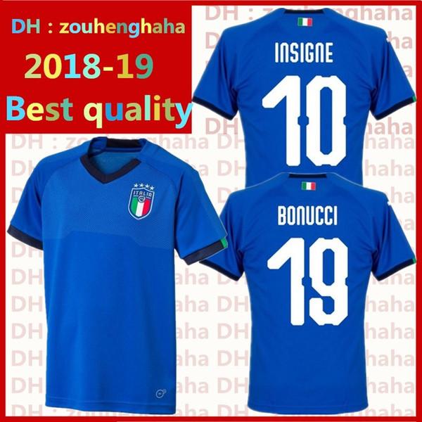 Italien Fußball Trikots Buffon Fußball-Uniform Nationalmannschaft von 2018 INSIGNE EL SHAARAWY PIRLO MARCHISIO De Rossi Bonucci Fußballshirts