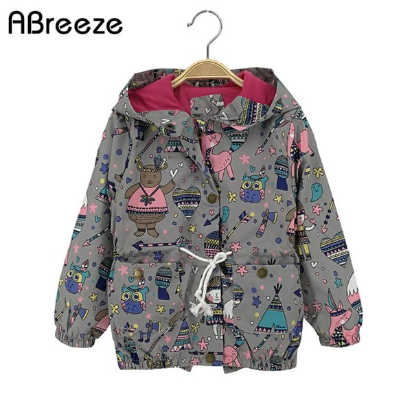 2018 New Summer autumn children Top clothing girls casual kids girls jackets 2-8T gray & blue hooded jackets for child girls