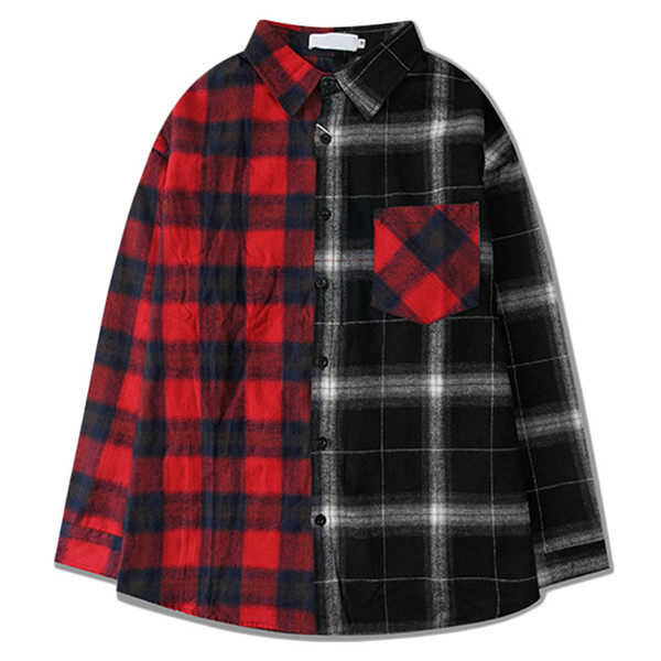 Shirts Men Classic Patchwork Plaid Male Shirts Thin Cotton Full Sleeve Shirt Hip Hop High Street Fashion Casual Slim College Style Autumn