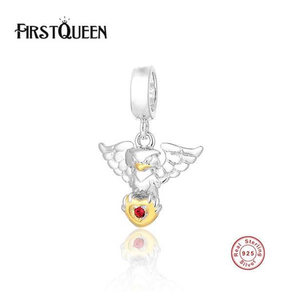 FirstQueen 925 Sterling Silver Charm Animal Eagle Charms Ciondolo europeo Bead Fit bracciale catena del serpente accessori fai da te gioielli