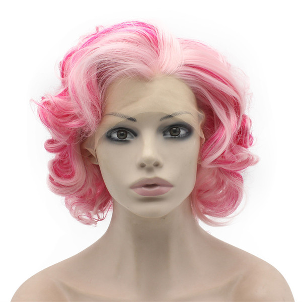 Short Curly Lace Front Stylish Pink Cosplay Party Wig
