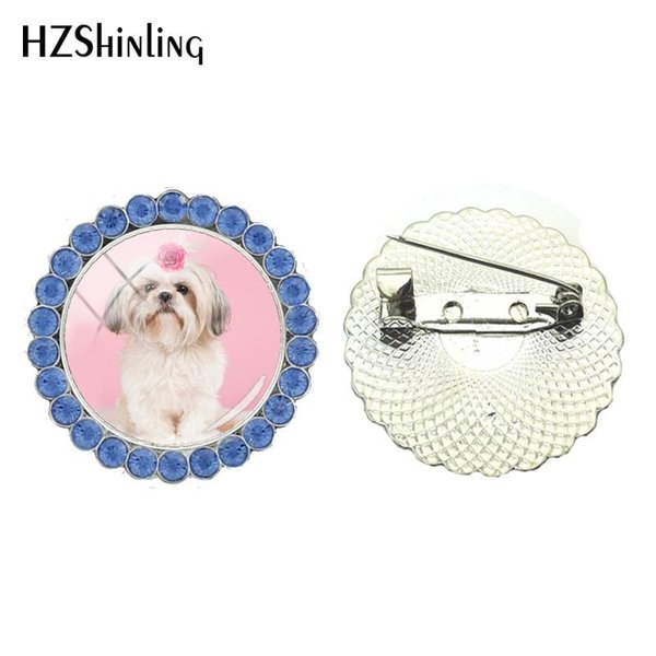 2018 New Shih Tzu Crystal Brooch Cute Dog Brooch Pin Glass Round Jewelry Glothing Accessories Art Printed Photo Brooches