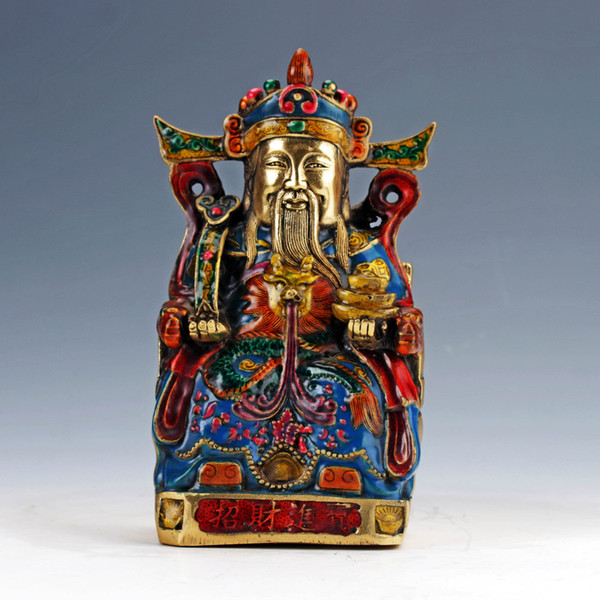 Collectable Cloisonne Hand Carved The God Of Wealth Statue W Xuande Mark NR