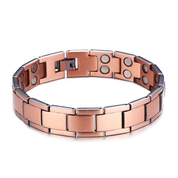 2018 Negative ion bracelet Fashion men's double row magnetic bracelet magnetite brass magnetic therapy healthy wide bracelet