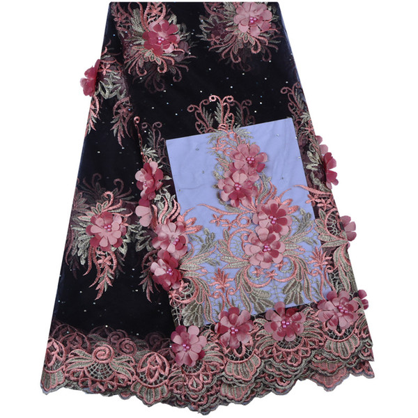 2019 New Design African Lace Fabrics French Net Embroidery 3 D Flowers petals Tulle Lace Fabric French Lace Fabric A1312
