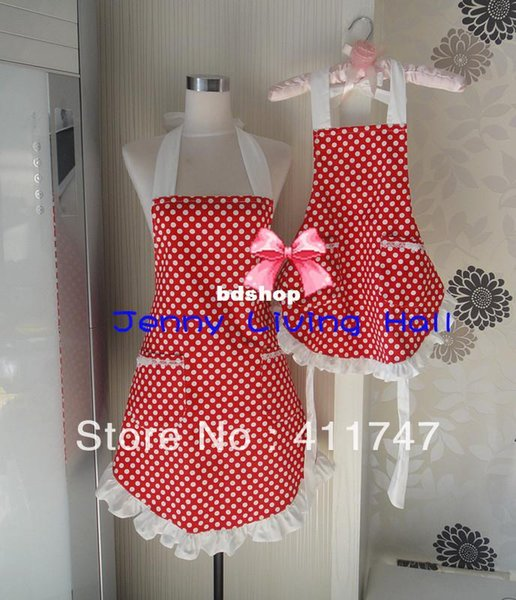 Mother and Daughter Apron Cotton Canvas Polka Dot Aprons