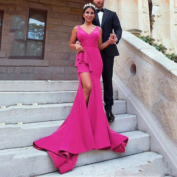 2018 Fushia Evening Dresses V-Neck Sleeveless Mermaid Prom Gowns Side Split Sexy Custom Made Sweep Train Formal Party Dresses